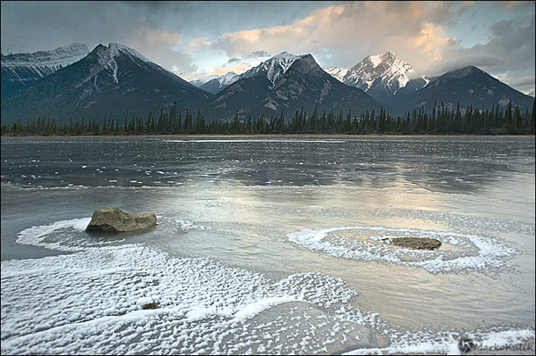 Athabaska River Reflecting Pools at Sunrise - Banff National Park - Alberta., Canada