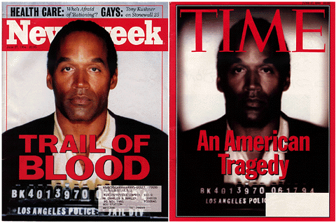 In 1994 Time and Newsweek used the same image of O.J. Simpson as the cover image. It's clear that Time magazine intentionally manipulated the image.