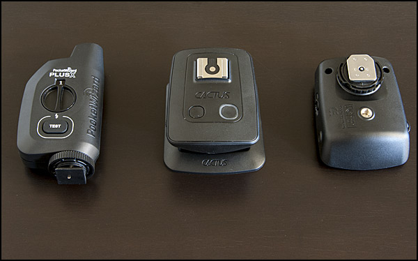 The PocketWizard Plus X transceiver (sold as a single unit) and the Cactus V5 Duo (2 transceivers)