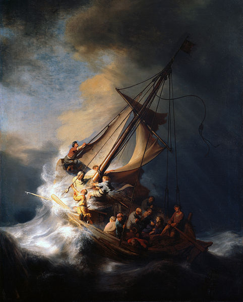 1633 - Rembrandt (1606-1669) Christ in the Storm on the Lake of Galilee.