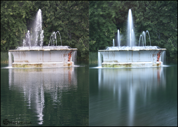 Fountain at Parc Lafontaine in Montreal, QC., Canada - The slowest shutter speed I could get without a filter was 1/60 in this light.  When I put the big stopper on, It extends the available shutter speeds big time. The image on the right was a 15 second exposure using the big stopper and look how dreamy the water looks.