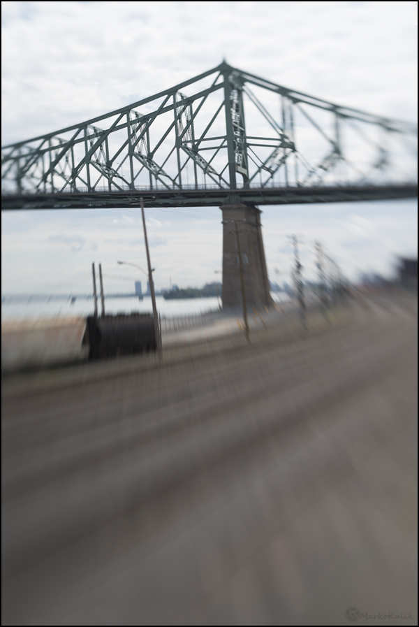 This is an image of the Jacques-Cartier Bridge in Montreal, Quebec. Because the bridge was not centered in the lens, I had to physically move the sharp sweet spot of focus by actually bending the lens.  This image took a little longer to compose.