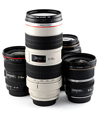 Assorted lenses for photography