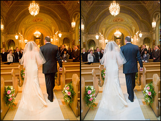 The image at left has a strong yellow/orange cast. We easily see the cast in the brides dress which is white. The cast is removed in the photo on the right and the brides dress is now white. Image by Dominic Fuizzotto