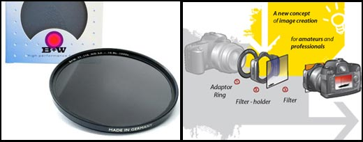 Left - Screw on neutral density filter. Right - The Cokin system