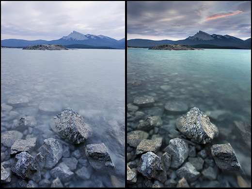 Left - Lake with no filter. Right - Lake with polarizer and-2-stop hard edge grad. Notice how much poppier this shot is. The grad reduces the shyd intensity. The polarizer removes the waters reflections thus saturating its colours.