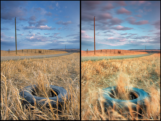 Left - Tire with Polarizer and-2-stop-hard-grad. Right - Tire with Polarizer plus a 2-stop-hard-edge grad and-a 5-stop solid-ND filter. Note the movement of the foreground brush. This was achieved by using the solid ND filter to get a slow shutter speed