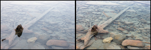 The effect of a polarizer on its own. Left - No polarizing filter. Right - The circular polarizing filter lets you see through the water by eliminating the waters reflectivity.