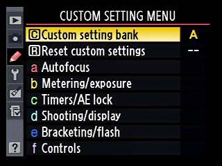 Nikon D700 customization menu
